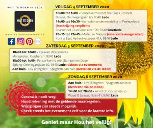 Corona evenementen wat te doen in lede weekendoverzicht